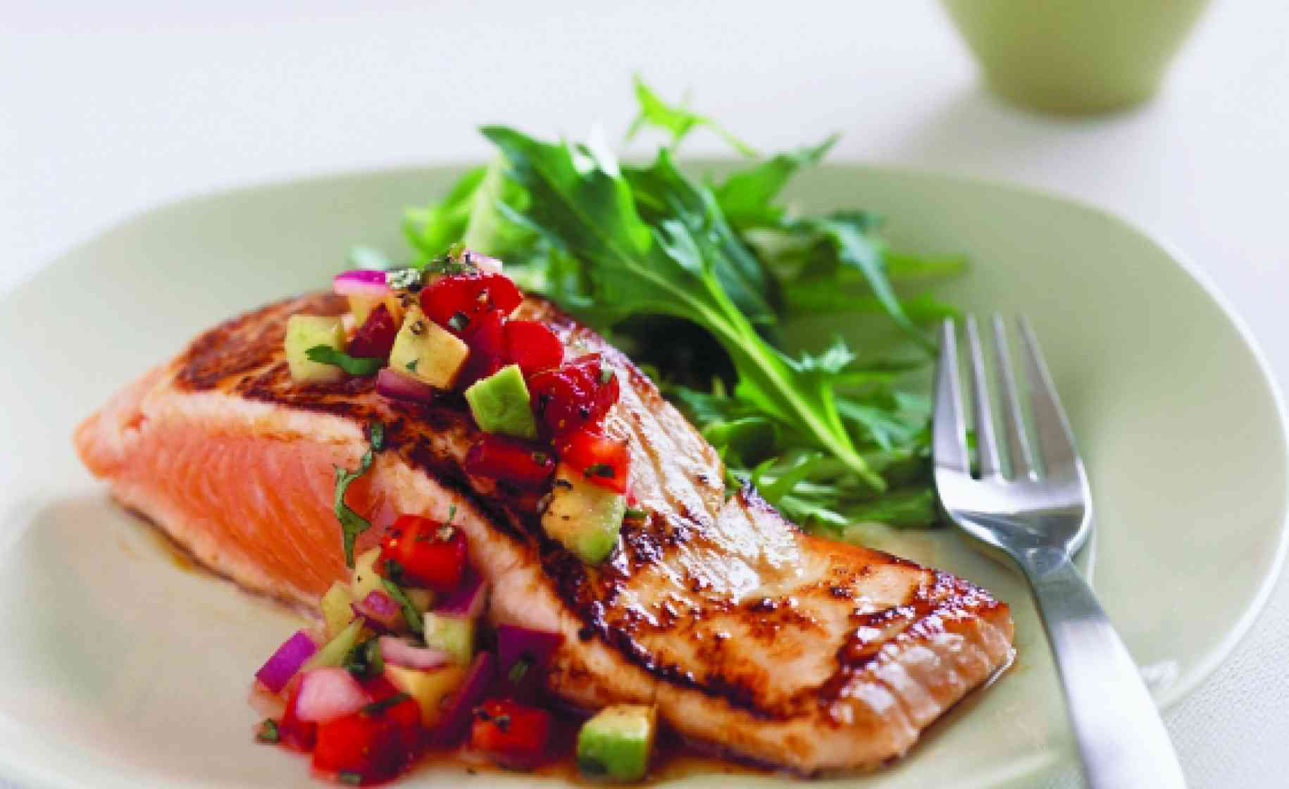 salmon with strawberry avocado salsa
