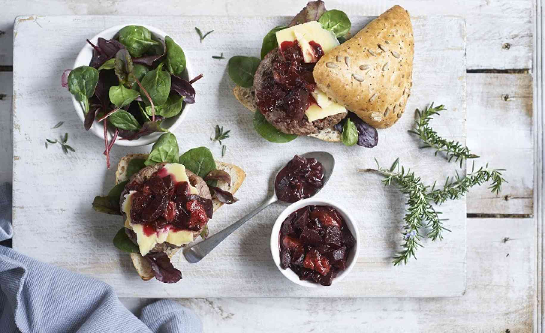 burger with strawberry beet jam