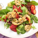 strawberry pesto prawn salad